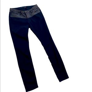 Uterque faux leather trim skinny stretch jeans